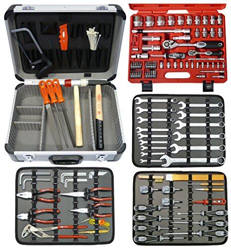 FAMEX Mechaniker Werkzeugkoffer mit High-End Werkzeugbestückung und Steckschlüsselsatz, 720-09