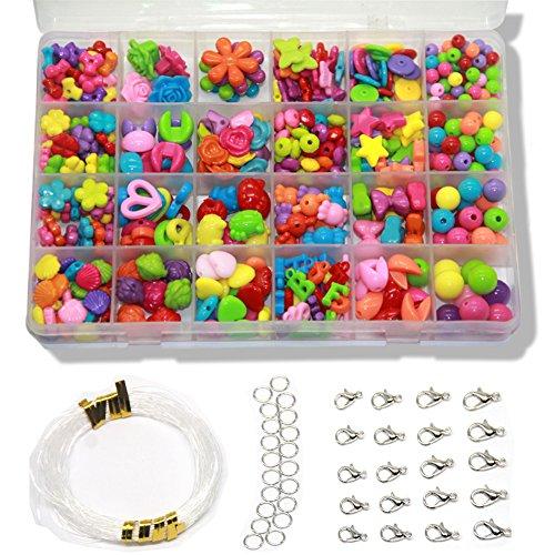Ewparts 24 Arten Bunte Perlen Handwerk Perlen für Kinder DIY Armband, Perlenschnur, der Satz bildet, kultiviert Farben empfindlich, Farbe verbläßt nicht baby spielzeug (Mehrfarbig)