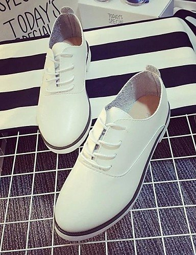 ZQ hug Scarpe Donna - Stringate - Tempo libero / Casual - Comoda - Piatto - Finta pelle - Nero / Blu / Bianco , white-us8 / eu39 / uk6 / cn39 , white-us8 / eu39 / uk6 / cn39 black-us5.5 / eu36 / uk3.5 / cn35