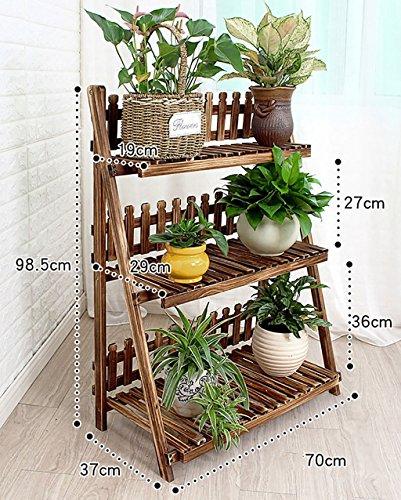 Supports de fleur en bois/supports d'intérieur et extérieurs d'usine/pots de fleur multicouche/échelle d'escalier de 3F(taille : 70cm)