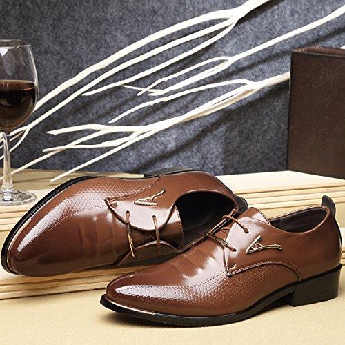 GRRONG Herren Leder Schuhe Formal Kleid Freizeit Breathable Schwarz Braun Brown