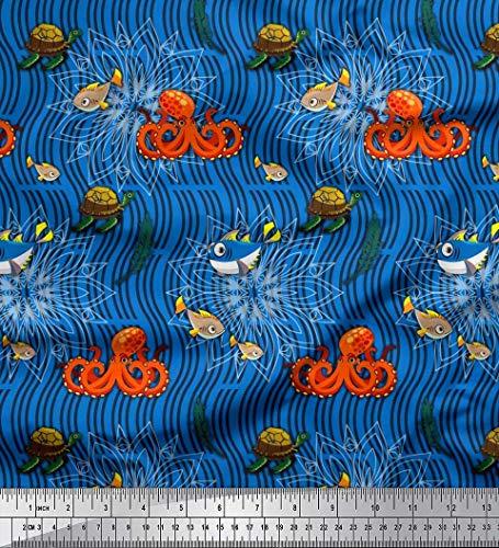 Soimoi Blau Samt Stoff Schildkröte, Fisch & Krake Ozean Drucken Nahen Stoff 1 Meter 58 Zoll breit