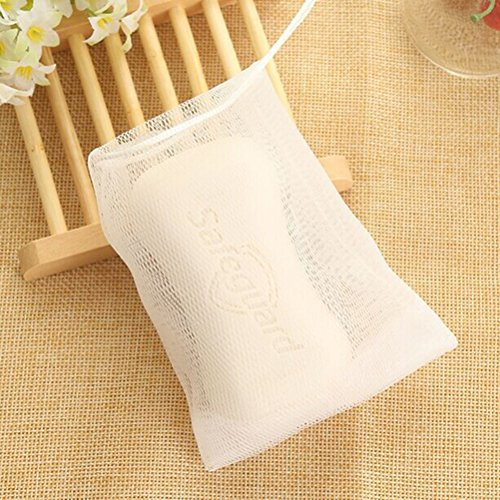 Frcolor 10pcs Soap Bag Double Layer Bubble Foam Net Easy Bubble Mesh Bags Body Facial Cleaning Tools