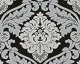 A.S. Création Vliestapete mit starkem Glitterauftrag Bling Bling Tapete neo barock 10,05 m x 0,53 m grau schwarz Made in Germany 313942 3139-42
