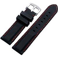 YISUYA - Cinturino per orologio, 24 mm, in gomma di silicone, chiusura in acciaio Inox, impermeabile, colore: Nero con…