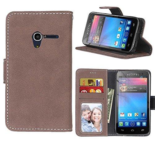 MOONCASE Alcatel Pixi 3 4.0 Hülle Matte Retro Tasche Magnetisch Leder Schutzhülle Klappetui Brieftasche Case mit Standfunktion für Alcatel OneTouch Pixi 3 4.0