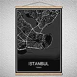 TIANLIANG Welt Stadtplan Leinwand Muster Moderne Poster Abstrakte Bild Drucken Öl Gemälde Mit Rahmen, Istanbul, 42 X 30 cm Ohne Rahmen