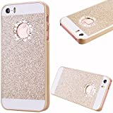 GrandEver Hard PC Case for Apple iPhone SE 5S 5 Glitter Bling Shiny Sparkle Design Case - Gold