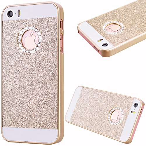 GrandEver Hard PC Case for Apple iPhone SE iPhone 5S iPhone 5 Rigid Glitter Back Cover Solid Color Bling Shiny Sparkle Design High Quality Plastic Shell Shockproof Tough Case Cover Flexible Cell Phone Hull for Apple iPhone SE/5S/5 --- Gold