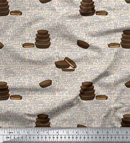 Soimoi Weiß Samt Stoff Text & Cupcakes Lebensmittel gedruckt Craft Fabric 1 Meter 58 Zoll breit