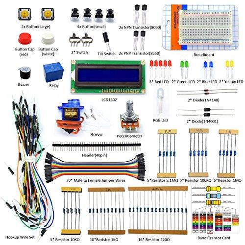 Adeept Project 1602 LCD Starter Kit for Raspberry Pi 3, 2 Model B/B+ Servo Relay LCD1602 Beginner/Starter Kit for Raspberry Pi with PDF Guidebook/User Manual (Female Model Kit)