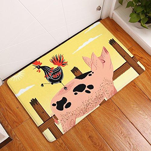 Tapis paillasson cochon et poule de mousse antidérapante et absorbant tapis de bain Cuisine habitacion entrée jardin Hall escalier 40 x 60 cm de Open Buy