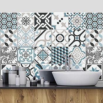 PS00036 Lisbonne Collage des tuiles adh/ésives carrelage adh/ésif 10x10 cm Adh/ésive d/écorative /à Carreaux pour Salle de Bains et Cuisine Stickers carrelage 54 Pieces