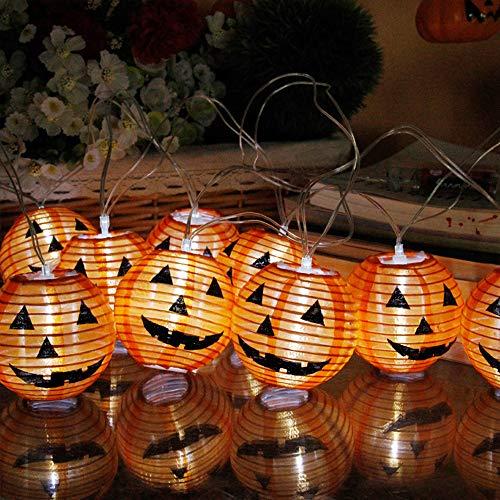 Halloween Dekoration Batterie Lichterkette, Morbuy Laterne Entwurf 2.3m /10LED Warmweiß Licht Deko Lampe (Orange Kürbis)