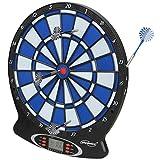 Physionics Elektronische Dartscheibe - LED-Anzeige Dartboard - Blau Dartautomat inkl. 6 Dartpfeilen und Ersatz-Pfeilspitzen - 18 Spiele und 159 Varianten