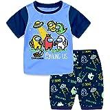 Suyaluoi Conjunto de pijama de verano Among us de Among para niños y niños, camiseta de manga corta con personaje Crewmate, r