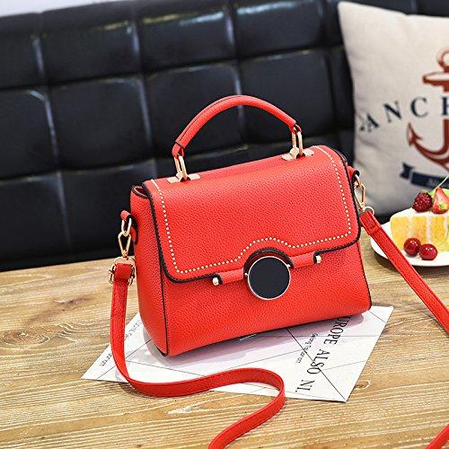 LiZhen Ms. pacchetti per autunno e inverno da piccolo pacchetto nuova marea coreana borsetta elegante e semplice pacchetto ragazza selvaggia borsa Messenger, grigio Rosso di grandi dimensioni
