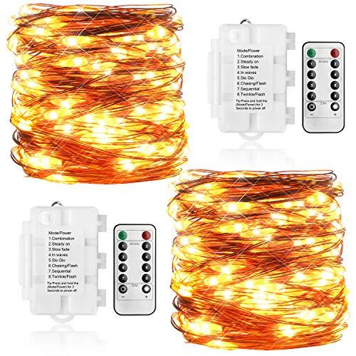 KooPower 2 Stk 100er LED Lichterkette Batterie mit Fernbedienung & Timer, 8 Modi IP65 Wasserdicht, Sternen Lichterketten für Weihnacht,Hochzeit,Party,Garten und Haus Deko-Warmweiß -