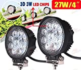 #9: Andride High Quality 27W Flood Round Work LED Light Fog Driving DRL Offroad SUV Boat Truck ATV Car (Pack of 2)
