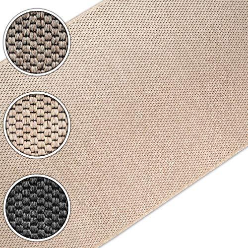 casa pura Teppich/Läufer in Sisal Optik | Flachgewebe mit Tiger-Eye-Struktur | ausgezeichnet mit GUT-Siegel | kombinierbar mit Stufenmatten (Beige, 80x500 cm)