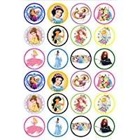 24 Disney Princesses Edible PREMIUM THICKNESS SWEETENED VANILLA,Wafer Rice Paper Cupcake Toppers/Decorations