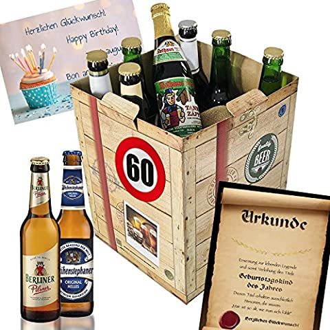 60. Geburtstag Geschenk für Freund - Bier Geschenk Box + gratis Geschenkkarten + Bierbewertungsbogen. Brauerei Eller + Schlappeseppel + Tegernseer + … Bierset + Biergeschenk. Bier Geschenke für Männer. Besser als Bier selber machen oder selbst brauen: Geburtstagsgeschenk Geburtstagsbier geschenkset freund männergeschenke geschenkideen für ihn geschenke Geburtstagsgeschenk 60 Geburtstagsgeschenke für Männer für Freund zum 60 Biergeschenke