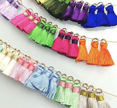 Quasten-Anhänger mehrfarbig, handgefertigt aus langer Seide, ideal als Party-Dekoration, für Lesezeichen, für Schlüsselanhänger, Ohrringe, Kleidung oder sonstige Basteleien