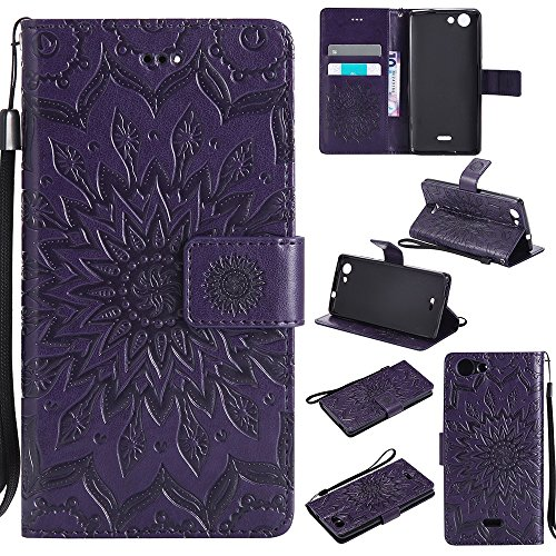 Für Asus Zenfone ZB551KL Gehäuse, Präge Sonnenblume Magnetisches Muster Premium Weiche PU Leder Brieftasche Stand Case Cover Mit Lanyard & Halter & Card Slots ( Color : Pink ) Purple