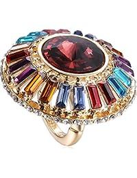 Multicolor Rhinestones aleación anillos grandes para las mujeres