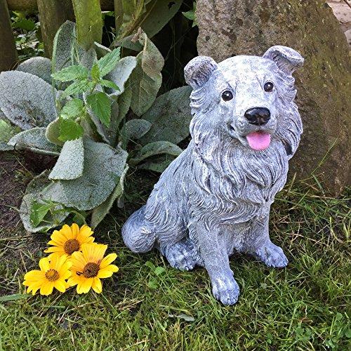 Antikas - Gartenfigur Steinfigur Collie Figuren Tiere - Frostfeste Tierfiguren Dekoration (Collie Hund Figur)