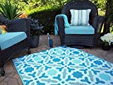 Fab Hab - Seville - Multifarben - Blau - Teppich/Matte für den Innen- und Außenbereich (90 cm x 150 cm)