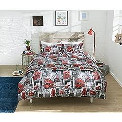 Pieridae autobús rojo de Londres de funda de edredón ropa de cama, funda de almohada de autobuses–Funda edredón cama juego de muebles para dormitorio, 50% algodón/50% poliéster, Rojo, king size