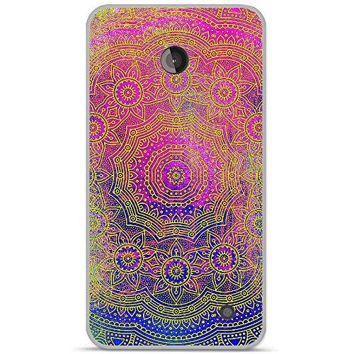 Onozo Schutzhülle TPU Gel weich Nokia Lumia 630/635Design Mandala Rosette violett, blau gelb -