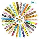 Ucradle 60 Pezzi Schiaffo Braccialetti Festa Slap Bracelets per Bambini, Divertenti e Super Slap Bands con Cuori Colorati Animali Emoji, Idea Regalo per Bambini, Ragazze e Ragazzi
