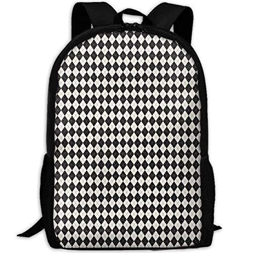 HOJJP Schultasche Black and Cream Argyle Giftwrap (2042) School Rucksack College Bookbag Unisex Travel Backpack Laptop Bag -