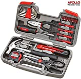 Apollo Precision Tools 39 Piece DIY Home Household Toolkit with Combination Pliers in Box Case- Great Gift