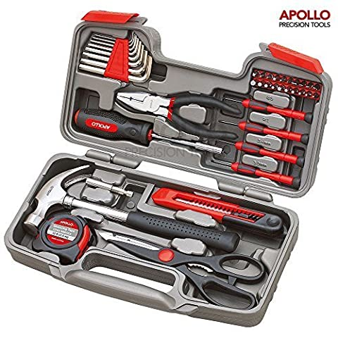 Apollo Precision Tools 39 Piece DIY Home Household Toolkit with Combination Pliers in Box Case- Great