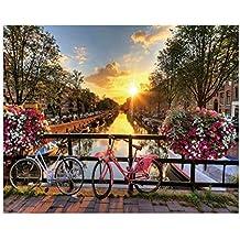 Cuadro de ciudad romántico rosa de lienzo para decoración de 100 x 80 cm Iris - Lola Derek