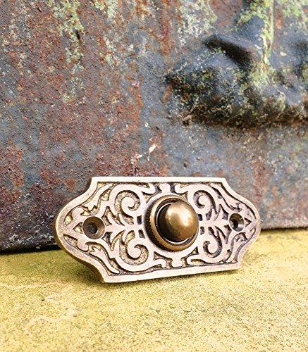 Antikas - Türklingel ziseliert aus Antik-Messing - flache Klingel als Haustür Schelle