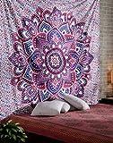 RAJRANG Indisch Mandala Wandteppich Lila und Blau Tapisserie Groß Baumwolle Wandbehang Lotus Tapestry