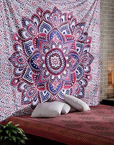 Boho Mandala Tapisserie Indien Tenture Lotus Violet Coton Déco Mural grand Hippie 3D Florale Drap De Lit Par Rajrang
