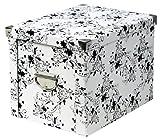 Zeller 17849 Aufbewahrungsbox, Pappe floral 27.5 x 36 x 26.5 cm, weiß
