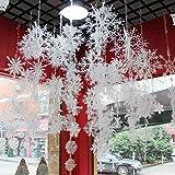 Etmury Weihnachtsdeko Schneeflocken 18 Stück Schneeflocken Hängend String Weihnachts baumschmuck 3D für Weihnachtsbaum, Hängedekoration Fensterdeko, Weihnachten,Silvester Party, (6CM)