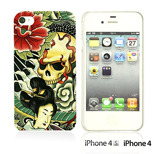 OBiDi - Skull Pattern Hardback Case / Housse pour Apple iPhone 4S / Apple iPhone 4 - Floral Skull Japan Style Skull Pattern