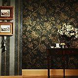 HNZZN Neue Luxus Retro Vintage Tapeten Blumige Tapeten im amerikanischen Stil, dunkle Farbe rustikal Blume Land für Wohnzimmer