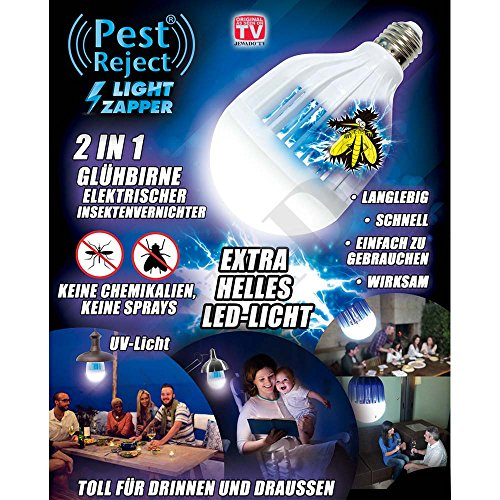 Pest Reject® Light Zapper 2en 1Bombilla Led, acoplador de insectos–Original de TV