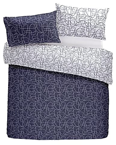 Nineteen11 'Doodle Lines' Graphic Swirls and Contrast Reverse Duvet Cover