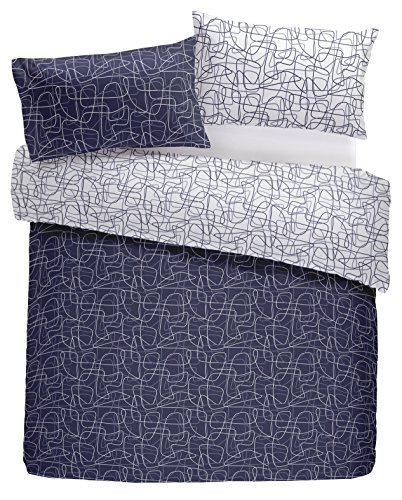 Nineteen11 'Doodle Lines' Graphic Swirls and Contrast Reverse Duvet Cover Set, Double, Navy