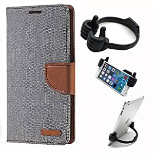 Aart Fancy Wallet Dairy Jeans Flip Case Cover for SamsungA5 (Grey) + Flexible Portable Mount Cradle Thumb OK Designed Stand Holder By Aart Store.