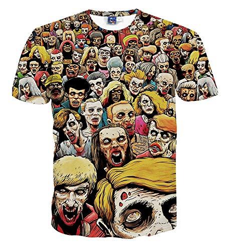 Camisas de Manga Corta para Hombre y Mujer. Camiseta de Verano,Camiseta de Manga Corta de Tendencia Divertida 3D 8 M